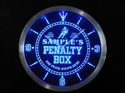 Personalized Name Hockey Penatly Box Bar Beer Neon Sign LED Clock