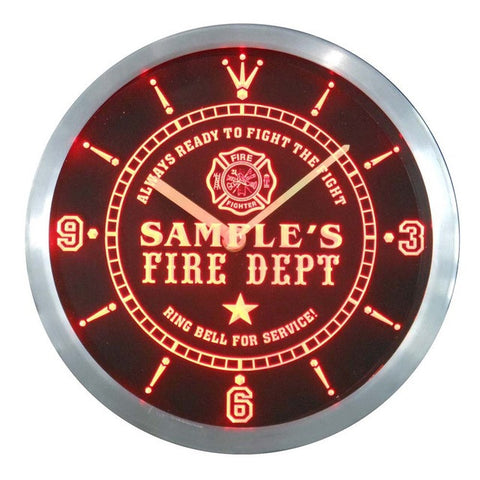 Name Personalized Custom Firefighter Fire Department Neon Sign LED Clock