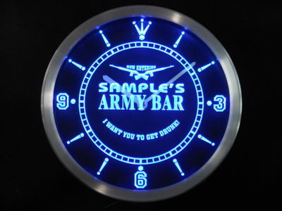 Name Personalized Custom Army Man Cave Bar Beer Bar Neon Sign LED Clock