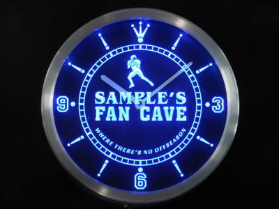 Name Personalized Custom Football Fan Cave Bar Beer Neon Sign LED Clock