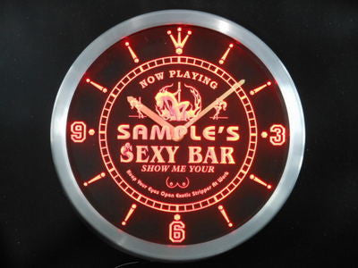 Name Personalized Sexy Bar Now Playing Stripper Neon Sign LED Clock