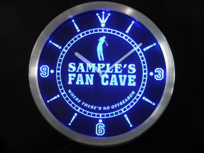 Name Personalized Custom Golf Fan Cave Man Room Bar Neon Sign LED Clock