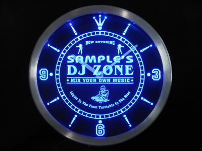 Name Personalized Custom DJ Zone Music Turntable Neon Sign LED Clock