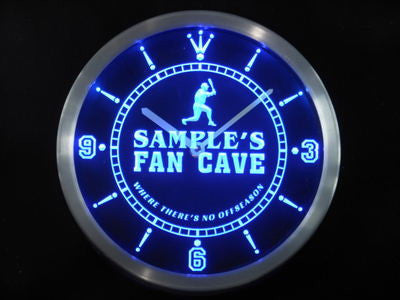 Name Personalized Custom Baseball Fan Cave Man Room Neon Sign LED Clock