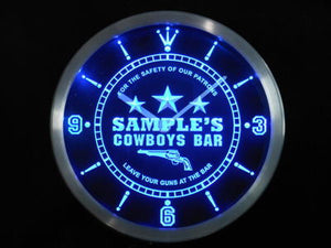 Name Personalized Cowboys Leave Your Guns At The Bar Neon Sign LED Clock