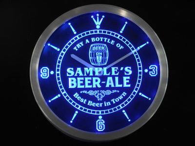 Beer Ale Personalized Your Name Bar Best in Town Neon Sign Led Clock