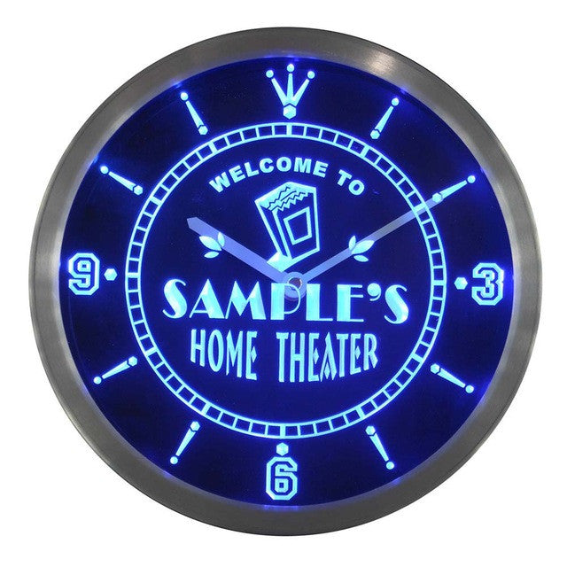Home Theater Personalized Your Name Bar Beer Sign Neon Led Clock