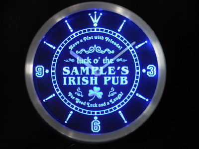 Personalized Custom Luck o' the Irish Pub St Patrick's Neon LED Clock