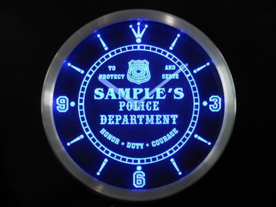 Name Personalized Custom Police Station Badge Bar Neon Sign LED Clock