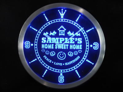 Name Personalized Custom Home Sweet Home Scottie Neon Sign LED Clock