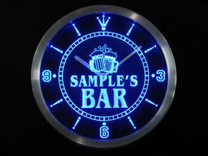 Name Personalized Custom Home Bar Beer Mugs Cheers Neon Sign LED Clock