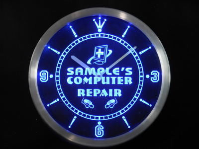 Name Personalized Custom Computer Repair Shop Neon Sign LED Clock