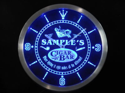 Name Personalized Custom Cigar Pipe Bar Lounge Neon Sign LED Clock