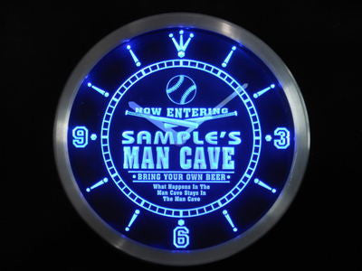 Name Personalized Custom Man Cave Baseball Bar Beer Neon Sign LED Clock