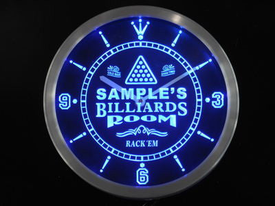 Billiards Room Personalized Your Name Bar Beer Sign Neon Led Clock