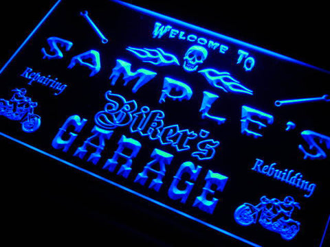 Name Personalized Custom Biker's Garage Motorcycle Repair Bar Neon Sign
