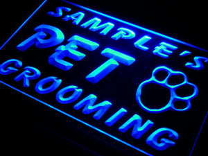 Name Personalized Custom Pet Grooming Paw Print Bar Beer Neon Light Sign