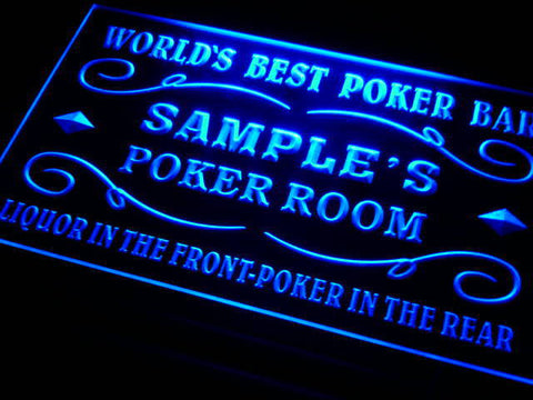 Name Personalized Custom World's Best Poker Room Liquor Bar Beer Neon Sign