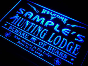 Name Personalized Custom Hunting Lodge Firearms Man Cave Bar Neon Sign