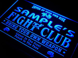 Name Personalized Custom Fight Club Bring Your Weapon Bar Beer Neon Sign