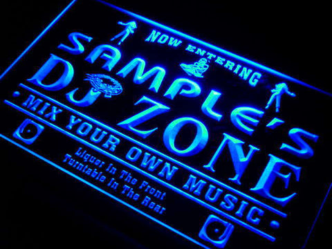 Name Personalized Custom DJ Zone Music Turntable Disco Bar Beer Neon Sign