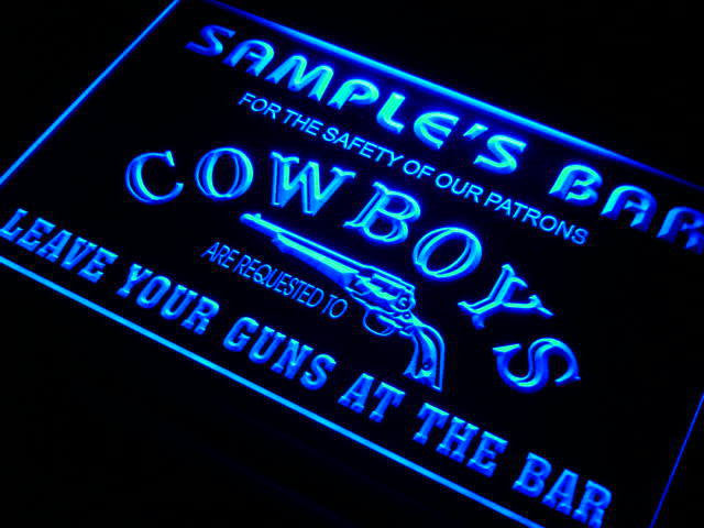 Name Personalized Custom Cowboys Leave Your Guns At The Bar Beer Neon Sign
