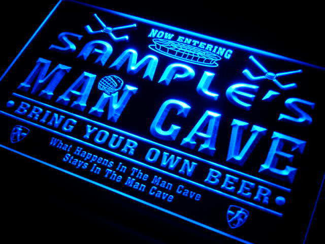 Name Personalized Custom Man Cave Hockey Bar Beer Neon Sign