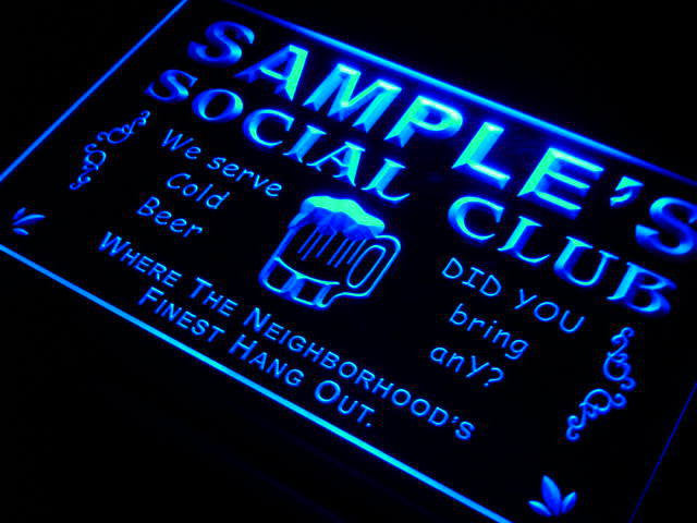 Name Personalized Custom Social Club Home Bar Beer Neon Light Sign