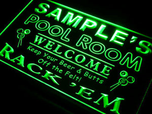 Name Personalized Custom Pool Room Rack 'em Bar Beer Neon Light Sign