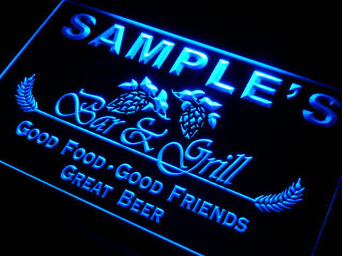 Name Personalized Custom Bar & Grill Beer Neon Light Sign