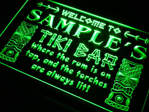 Name Personalized Custom Tiki Bar Beer Neon Light Sign