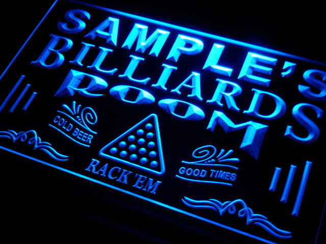 Name Personalized Custom Billiards Pool Bar Room Neon Sign