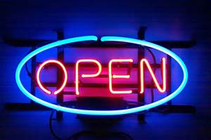 Open Glass Neon Light Sign