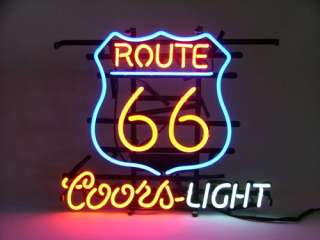 Route 66 Coors L Glass Neon Light Sign Beer Bar