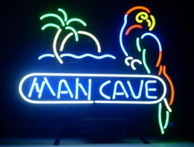 Man Cave Parrot Glass Neon Light Sign Beer Bar Custom Made