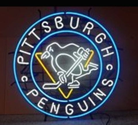 Custom Pittsburgh Penguins Glass Neon Light Sign Beer Bar