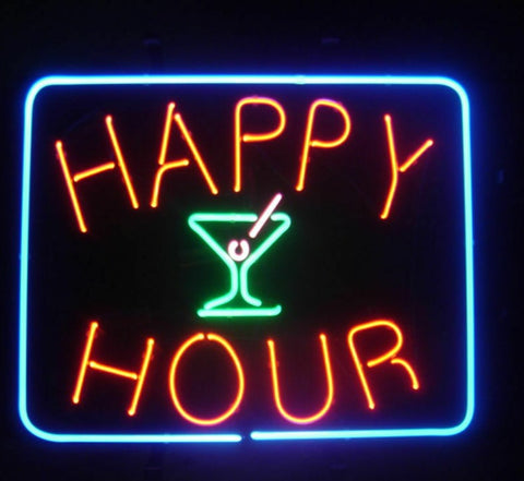 Custom Happy Hour Open Glass Neon Light Sign Beer Bar