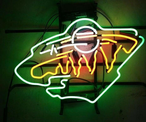 Custom MINNESOTA WILD HOCKEY Glass Neon Light Sign Beer Bar