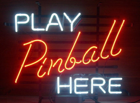 Custom Play Pinball Here Glass Neon Light Sign Beer Bar