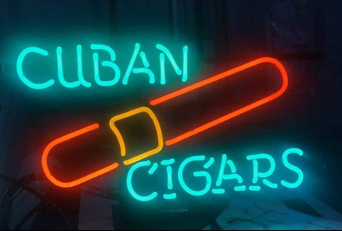 Custom Cuban Cigars Glass Neon Light Sign Beer Bar