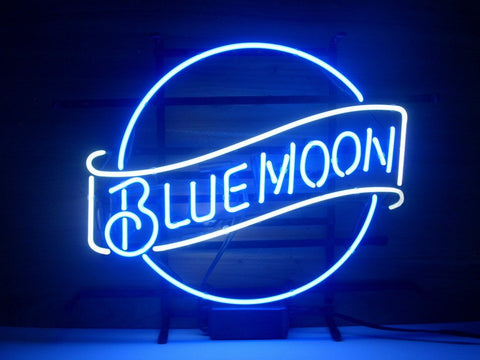 Blue Moon Glass Neon Light Sign