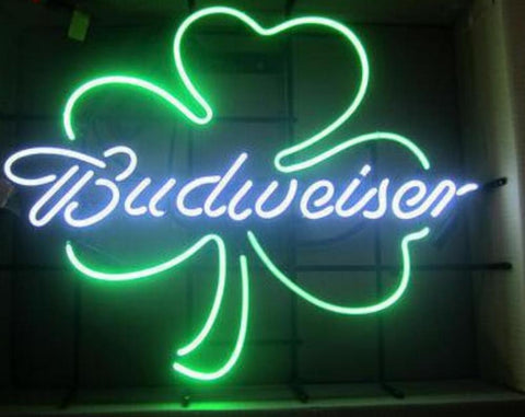 Custom Budweiser Shamrock Glass Neon Light Sign Beer Bar