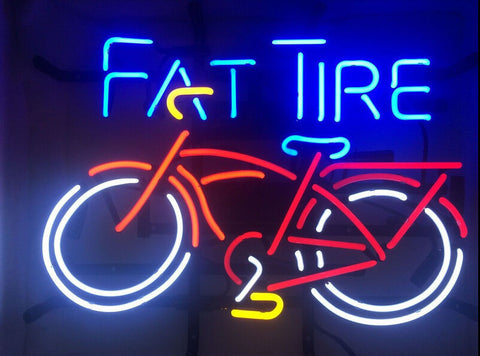 Fat Tire Bicycle Bike Glass Neon Light Sign  Beer Bar