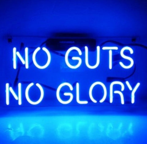 Custom NO GUTS NO GLORY Glass Neon Light Sign Beer Bar