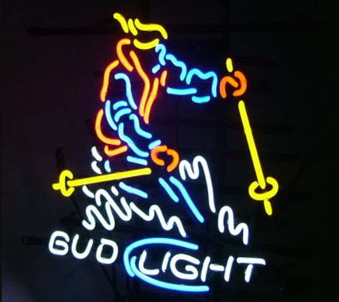 Custom Bud Light Snow Skier Glass Neon Light Sign Beer Bar