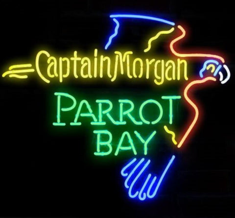 CAPTAIN PARROT BAY Glass Neon Light Sign Beer Bar
