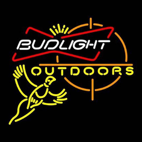 Bud Light Outdoors Pheasant Hunting Glass Neon Light Sign Beer Bar