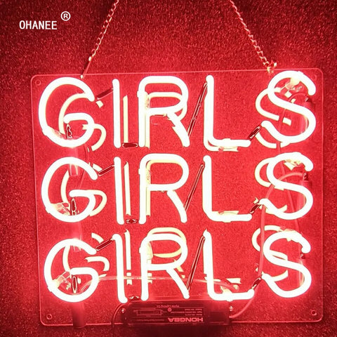 Custom Pink 3 Girls Real Glass Neon Sign Light Neon Tube HandMade Beer Bar Shop Logo Pub Store Club Garage Nightclub Advertise