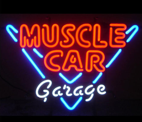 Custom Muscle Car Garage Glass Neon Light Sign Beer Bar