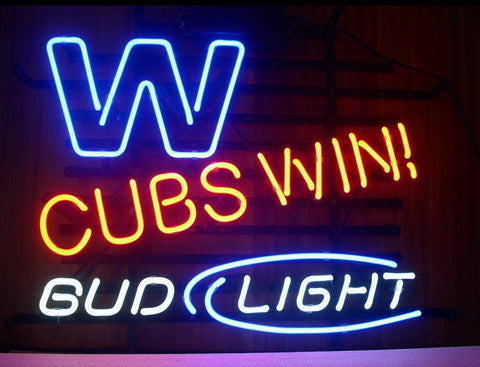 Custom Bud Light Chicago Cubs Glass Neon Light Sign Beer Bar